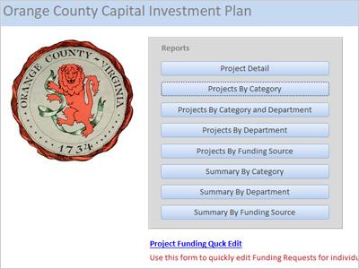 Orange County, Virginia, Capital Improvement Plan Database