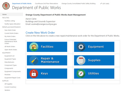 Orange County, Virginia, Department of Public Works Asset Management System Project